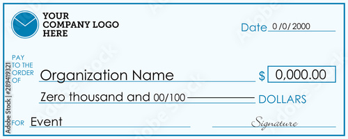 Presentation Check Template | Giant / Large Donor Check for Business Canvas Print