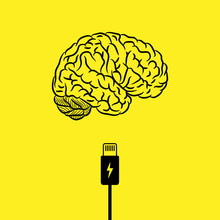 Abstract Black Human Brain Silhouette With Charge Cable Isolated On Yellow Background
