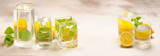 Foods distorted through liquid and glass on light background.