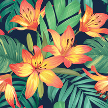 Seamless Pattern With Lily Flowers And Palm Leaves Background. Vector Set Of Exotic Tropical Garden For Holiday Invitation, Greeting Card And Textile Fashion Design.