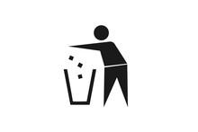 Trash Bin Icon, Man Throw Garbage Icon
