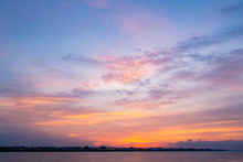 River With Sky And Clouds Sunrise Background