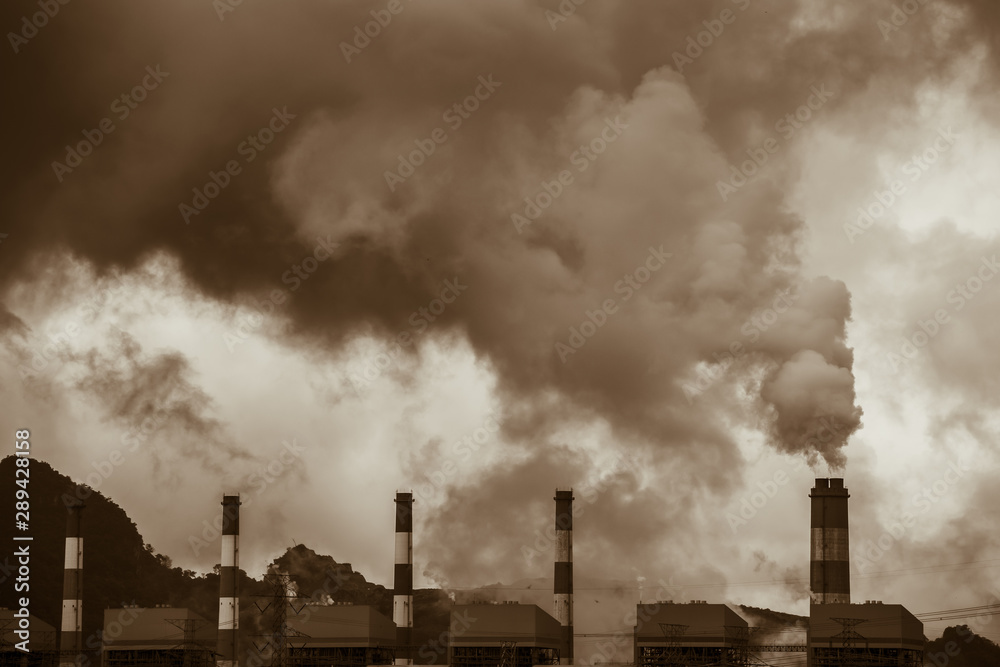 Fototapeta Air pollution crisis of danger PM 2.5  carbon dioxide dust smoke from coal power plant