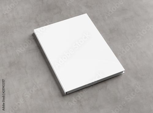 Fototapeta Blank hardcover book mockup on concrete 3D rendering