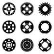 Sprocket wheel. Machine parts. Flat icons. Vector illustration