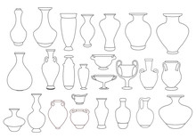 Vases And Amphora Linear Illus...
