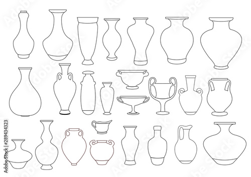 Vases and amphora linear illustration Wallpaper Mural