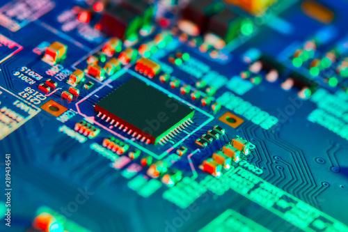 Fotografía  Electronic circuit board close up.