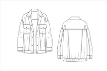 Women's Pea Coat Technical Drawing Vector