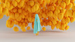 Leinwanddruck Bild Floating Ghost Spirit of a Child Gulf Blue Turquoise and Orange Holding a Orange Balloon with Lots of Balloons in the Background Front View 3d Illustration