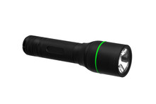 Modern Black Metal Flashlight Isolated On White