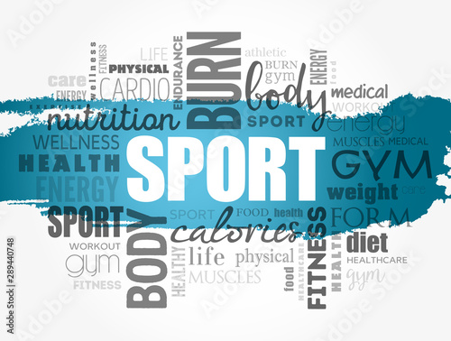 Fotografie, Obraz  SPORT word cloud, fitness, health concept background