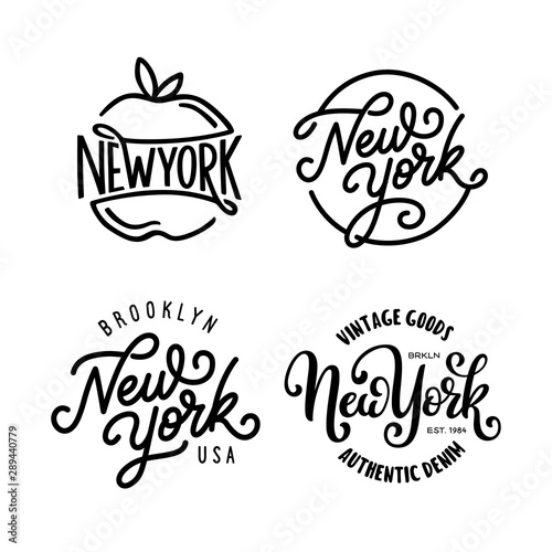 Fototapeta Vintage hand lettered t-shirt design. New york city text set. Vector illustration. obraz