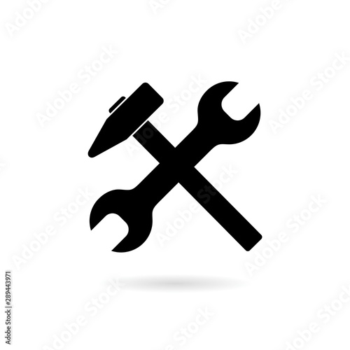 Wrench and hammer icon isolated on white background Canvas Print