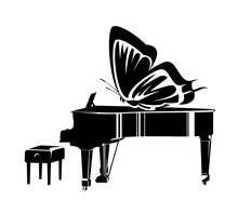 Grand Piano And Butterfly Wing...