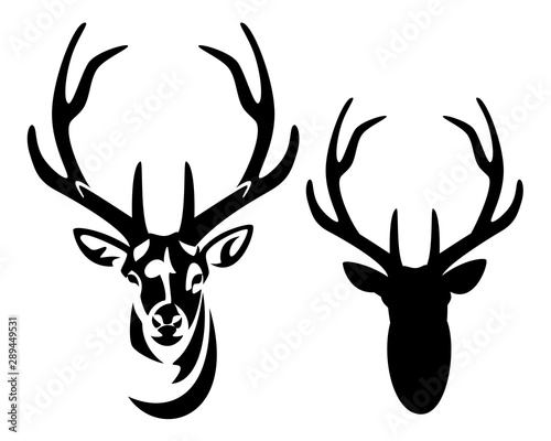 Obraz na plátne wild deer stag head with big antlers front view black and white vector silhouett
