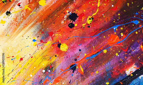 Spoed Foto op Canvas Carnaval Hand draw colorful watercolor painting abstract party background with texture