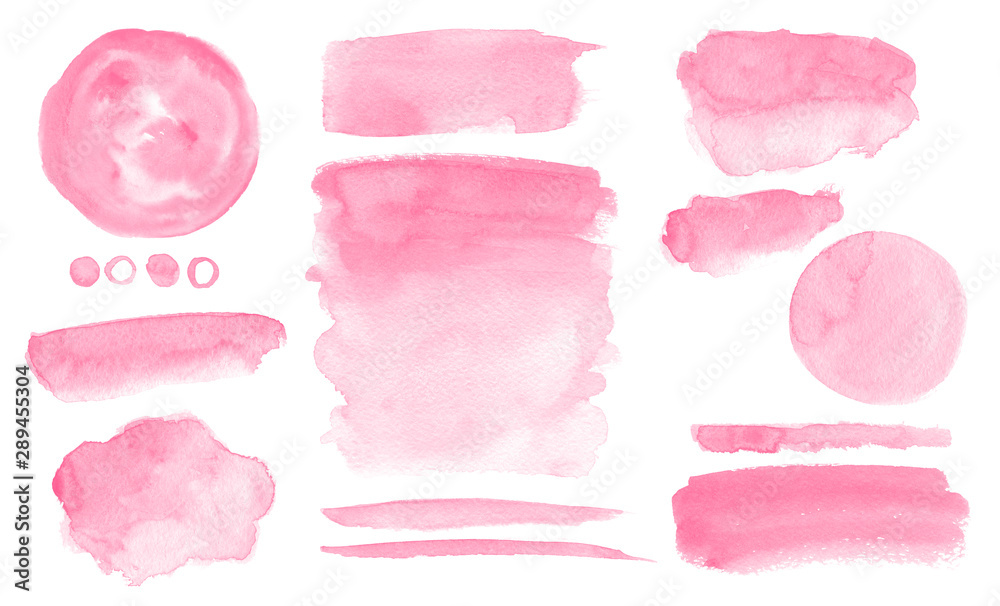 Fototapeta Pink watercolor stains and washes Set of brush strokes for Invitation cards design