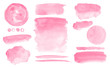 Pink watercolor stains and washes Set of brush strokes for Invitation cards design