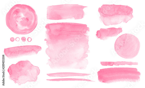 Fototapety, obrazy: Pink watercolor stains and washes Set of brush strokes for Invitation cards design