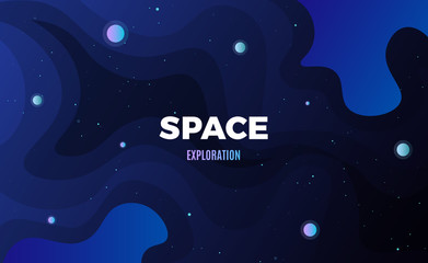 Space background design. Cute flat style template with stars, planets in deep Cosmos
