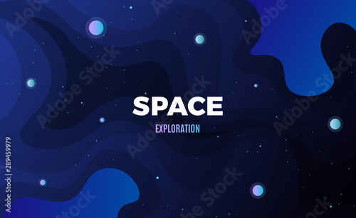Obraz Space background design. Cute flat style template with stars, planets in deep Cosmos - fototapety do salonu