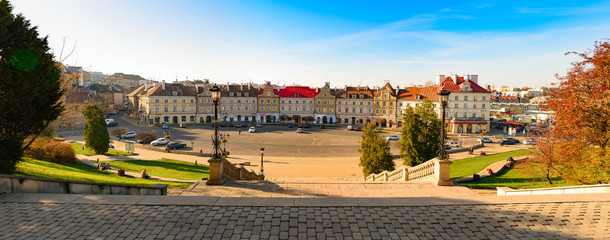Panorama of square in beautiful Polish city of Lublin