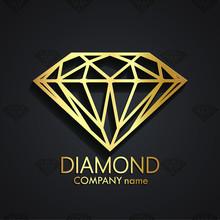 Diamond Shape 3d Golden Logo
