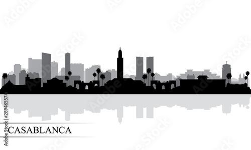 Fototapeta Casablanca city skyline silhouette background