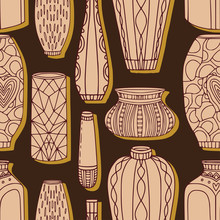 Vases Seamless Pattern. Pottery Vases On Brown Background.