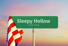 Sleepy Hollow – New York. Road Or Town Sign. Flag Of The United States. Sunset Oder Sunrise Sky. 3d Rendering