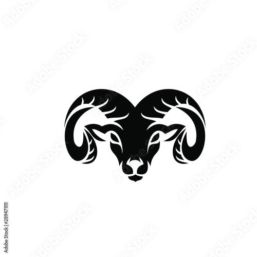 Rams goat head shield sport logo with black color and white background black log Wallpaper Mural