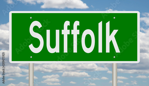 Photo Rendering of a green highway sign for Suffolk Virginia