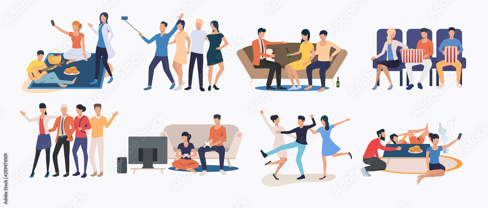 Fototapety, obrazy: Set of friends spending time together. Group of people enjoying themselves. Happy friends concept. Vector illustration for website, landing page, online store