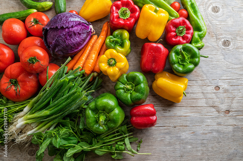 Local market fresh vegetable, garden produce, clean eating and dieting concept, Fresh vegetables on wooden table