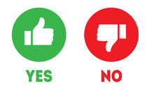 Like And Dislike Icons. Thumbs Up And Thumbs Down Symbols. Yes Or No Choice