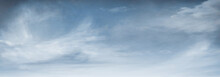 Panoramic Blue Sky Background With Atmospheric Clouds