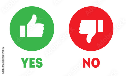 Fototapeta Like and dislike icons. Thumbs up and thumbs down symbols. Yes or no choice  obraz
