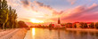 Wroclaw, Poland sunset panoramic banner with Ostrow Tumski island, Odra or Oder river and cathedral towers