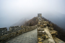 A Lovely Cloudy Day At The Mutianyu Part Of The Great Wall In Beijing, This Amazing Section Is Full Of Towers And A Nice Curves On The Wall.