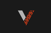 Letter V Orange Grey Dots Alphabet For Company Logo