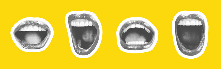 Collage of contemporary art in the style of a magazine with a set of female emotional lips. Closeup mouth girl expressing various emotions. Black and white tones colorful yellow background