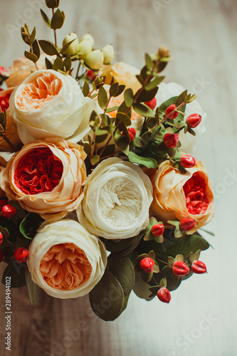 Top view of wedding bouquet on the wooden background Canvas Print