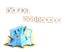 Hand Drawn Halloween Background With Gelatinous Cube