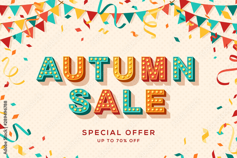 Fototapety, obrazy: Autumn sale advertisement template