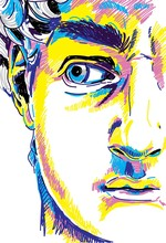 Greek Sculpture Young Man. Greek Statue Renewal, Famous Sculpture. Drawing Markers, Pop Art. Stylish Poster.