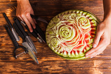 Carved Watermelon Fruit Prepared For The Carving