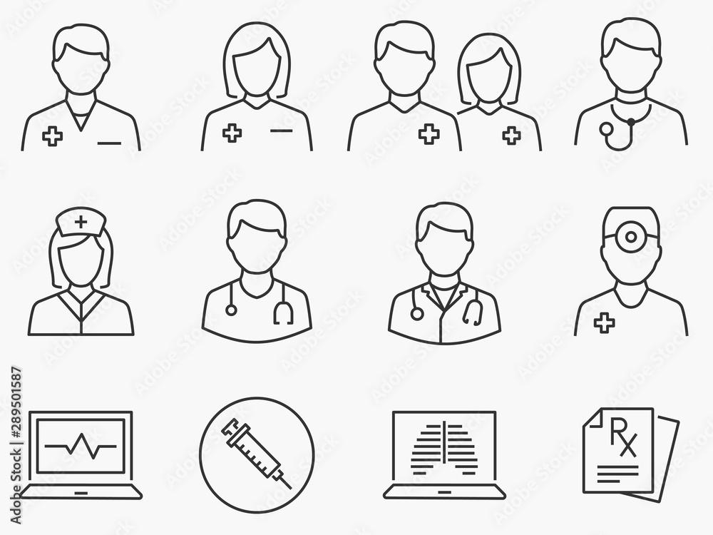 Fototapety, obrazy: Doctor and Nurse line icons set. Black vector illustration. Editable stroke.