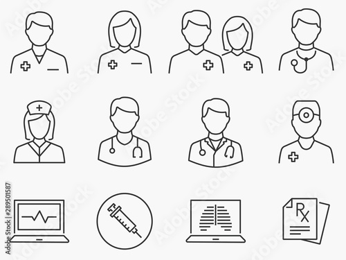 Stampa su Tela  Doctor and Nurse line icons set