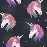 seamless pattern with unicorns and stars